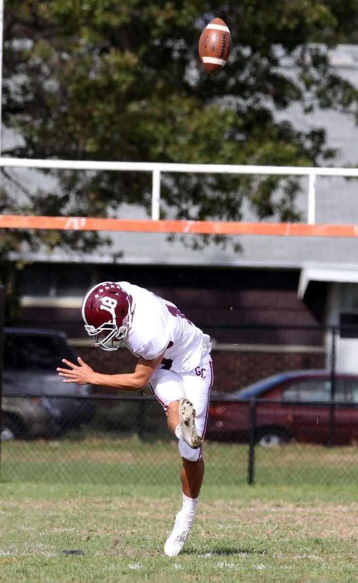 Garden City's Ryan Norton launches kickoff into