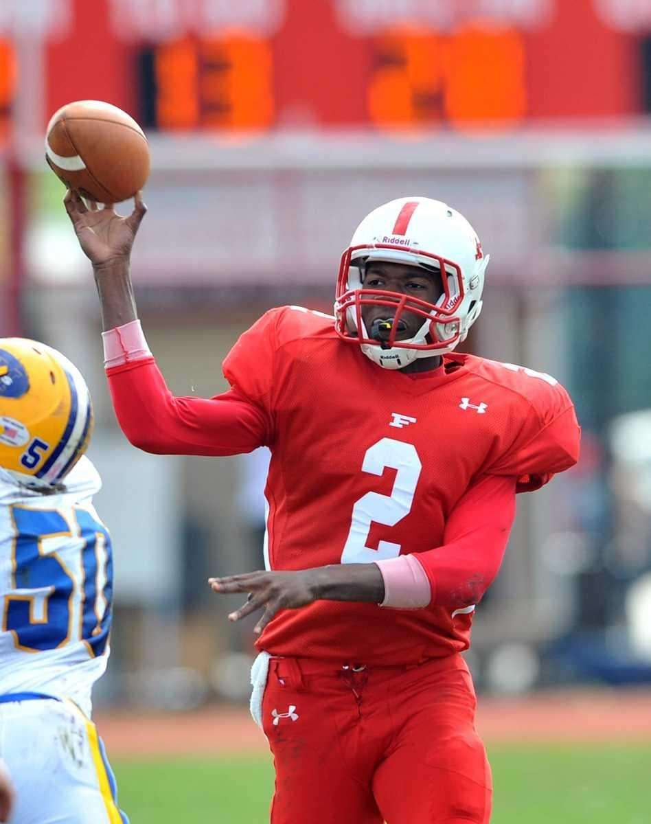 Freeport QB #2 Isaiah Barnes passes during first