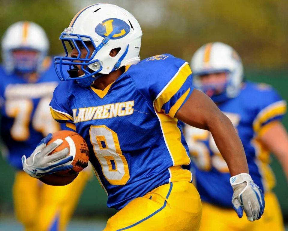 Lawrence High School running back #8 Ryan Fredericks