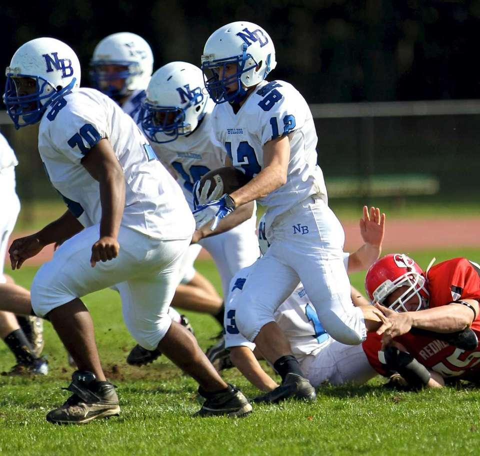 North Babylon RB Jake Conner #12, follows the