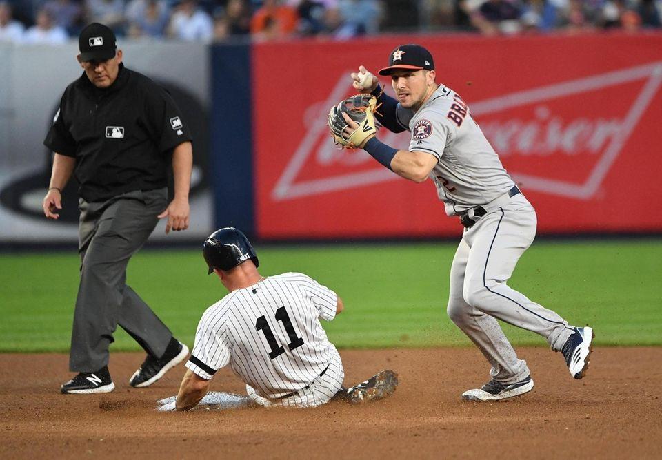Houston Astros shortstop Alex Bregman forces out New