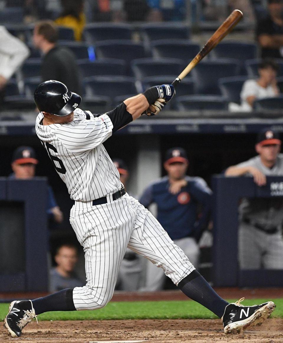 New York Yankees' DJ LeMahieu hits a two-run
