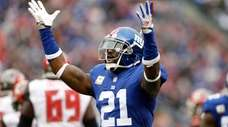 Landon Collins reacts after making a tackle during