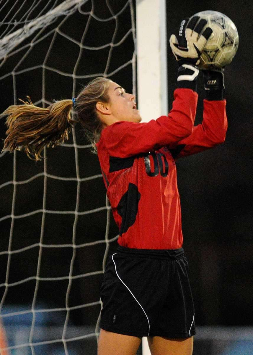 Massapequa High School's goalkeeper Emmalee Meyer makes a