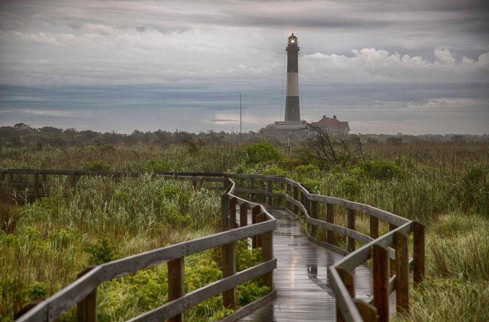 The Fire Island Lighthouse on a rainy Friday