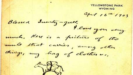 A note card dated April 16, 1903, written