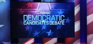 The debate stage during the MSNBC Democratic Candidates