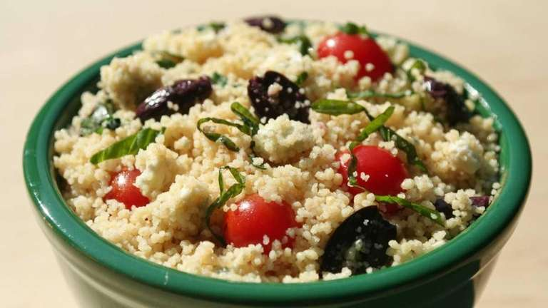 Whole-grain couscous with Kalamata olives, blue cheese and