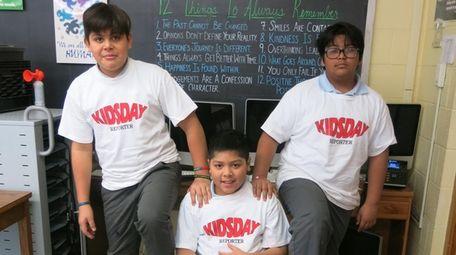 Kidsday reporters Alan Turcios, left, Nicholas Aguirre and