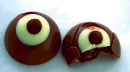 Peanut Butter and Raspberry Jelly-Filled Milk Chocolate Eyeballs.