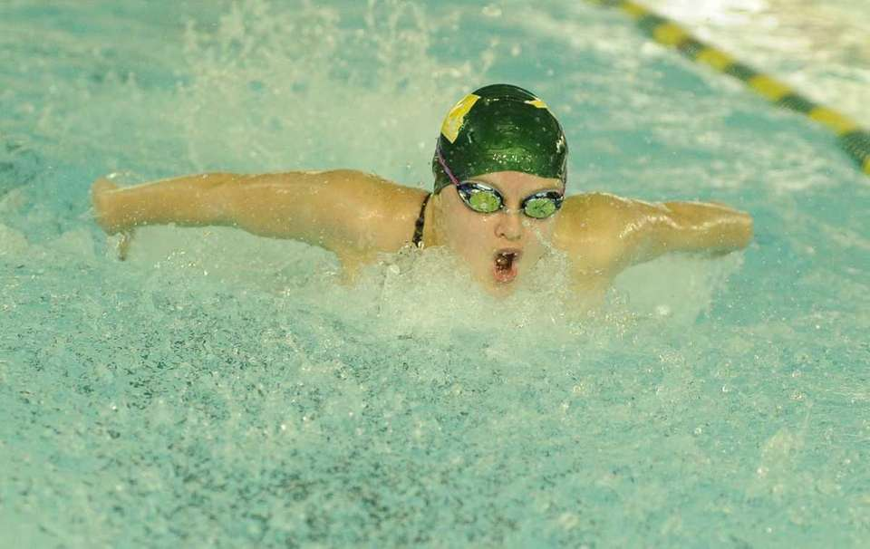 Ward Melville's Cassandra Willie swims the butterfly in