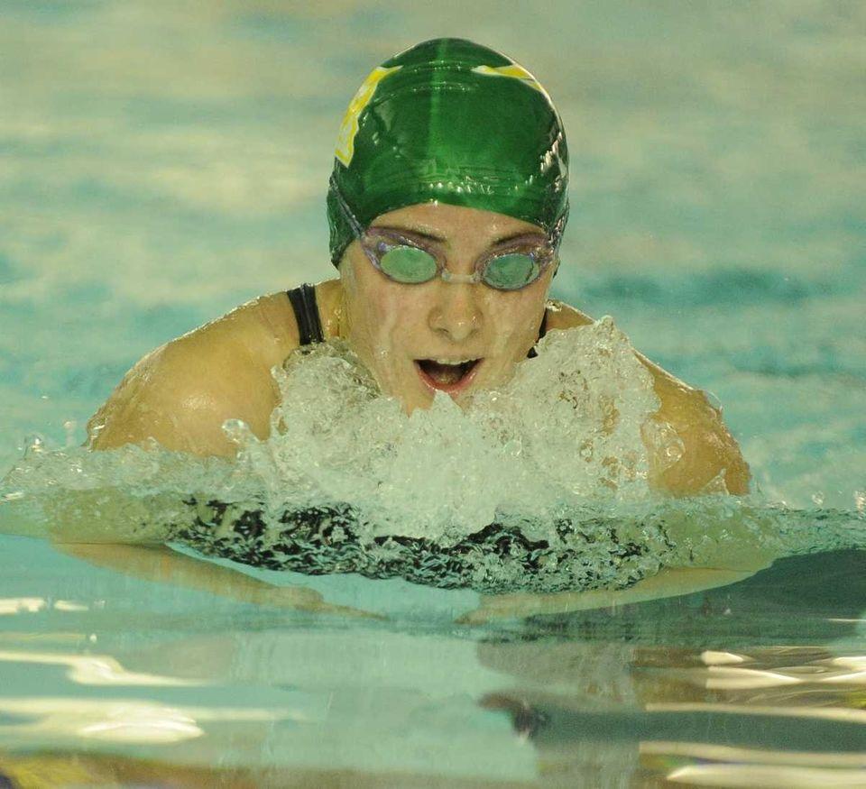 Ward Melville's Jessica Fabrizio swims the breaststroke in
