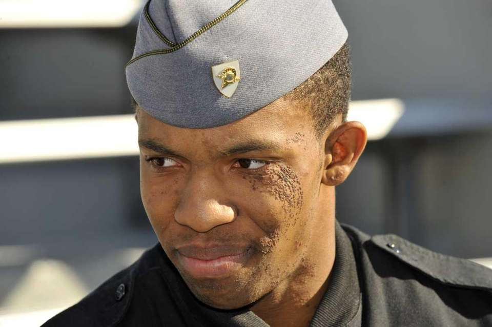 West Point cadet Malcolm Brown plays on the