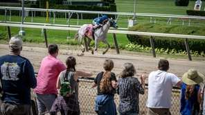 Horse racing enthusiast cheering on horses in the