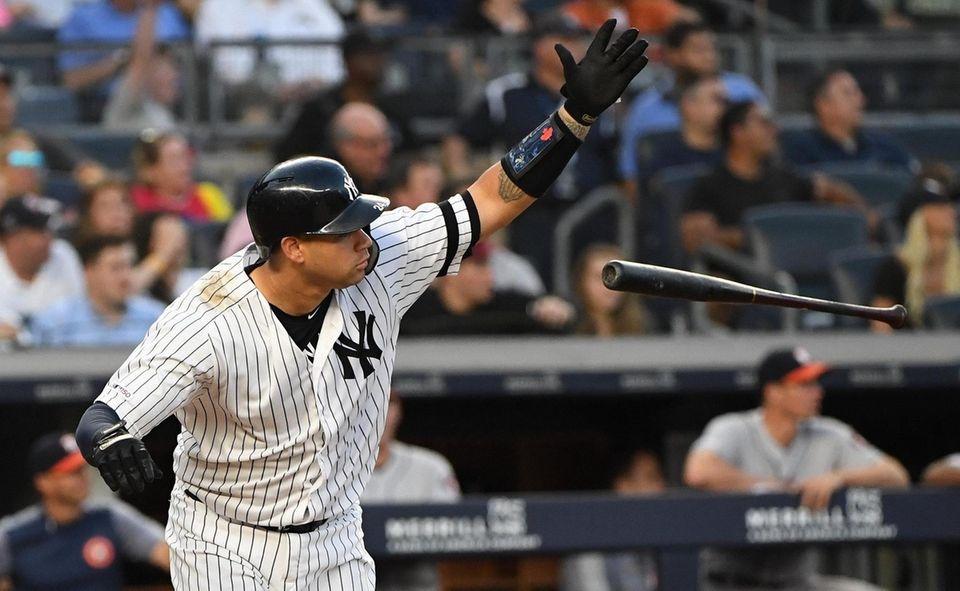 New York Yankees catcher Gary Sanchez drops his