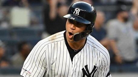 Yankees catcher Gary Sanchez reacts as he runs
