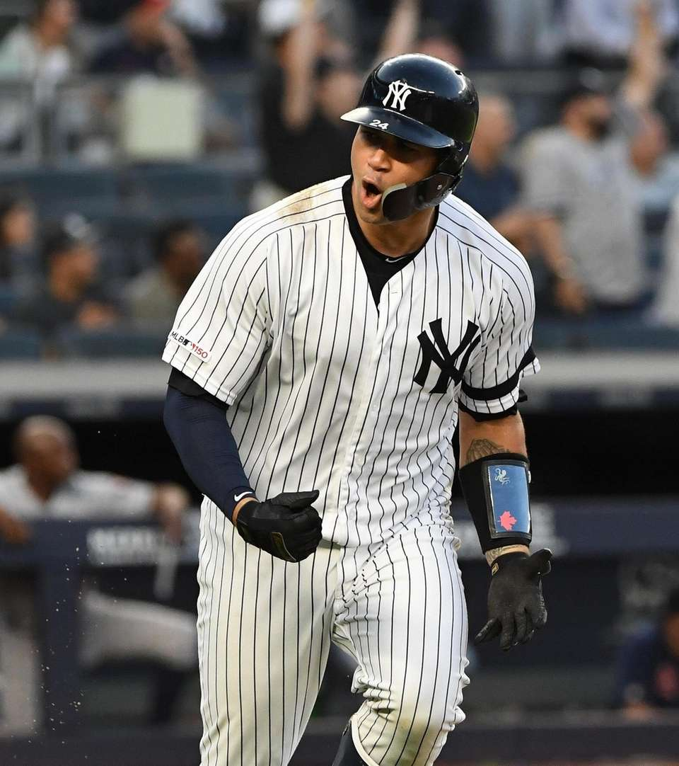 New York Yankees catcher Gary Sanchez reacts as