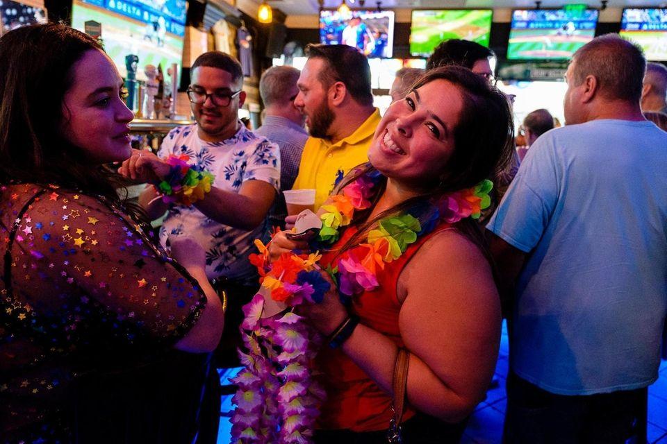 Claudette Brand (r) and Madeline Ortiz celebrate Pride