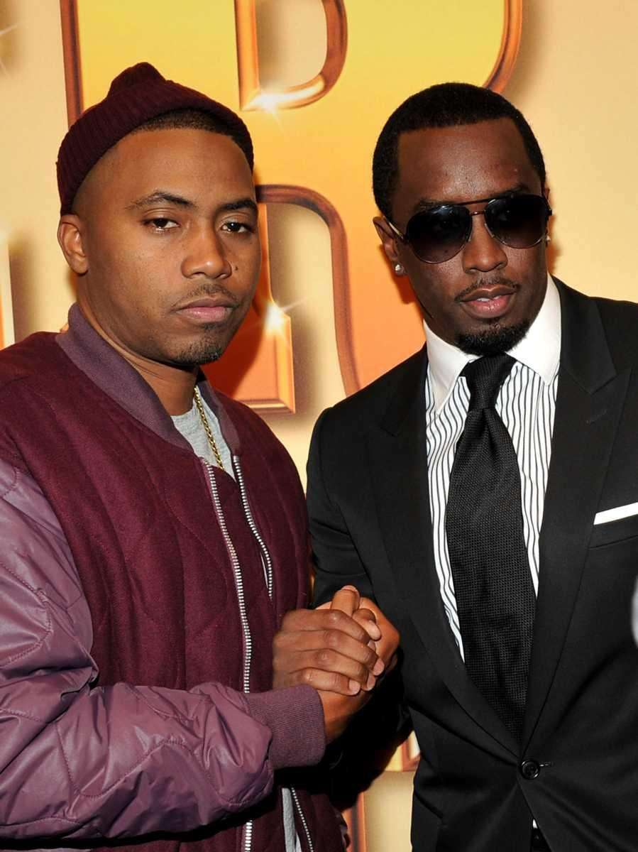 Rappers Nas and Sean Diddy Combs attend the