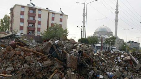 The debris of destroyed houses in Ercis, Van,