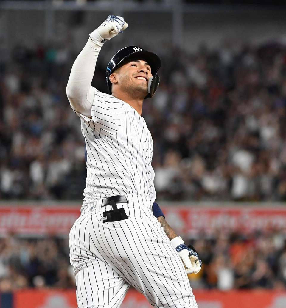 New York Yankees second baseman Gleyber Torres reacts