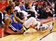 Kevin Durant of the Warriors reacts after sustaining