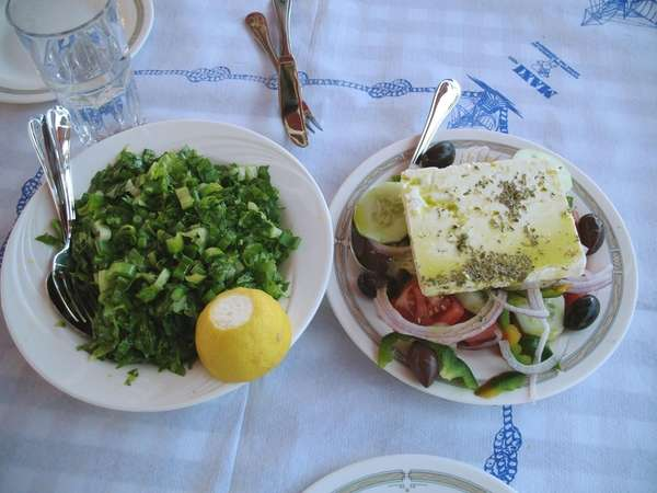 Maroulosalata, left, is a romaine salad; horiatiki salata