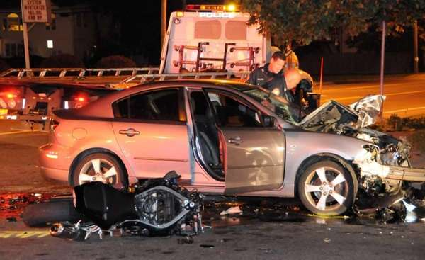 A motorcyclist was killed in a two-vehicle collision