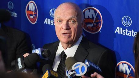 New York Islanders general manager Lou Lamoriello speaks