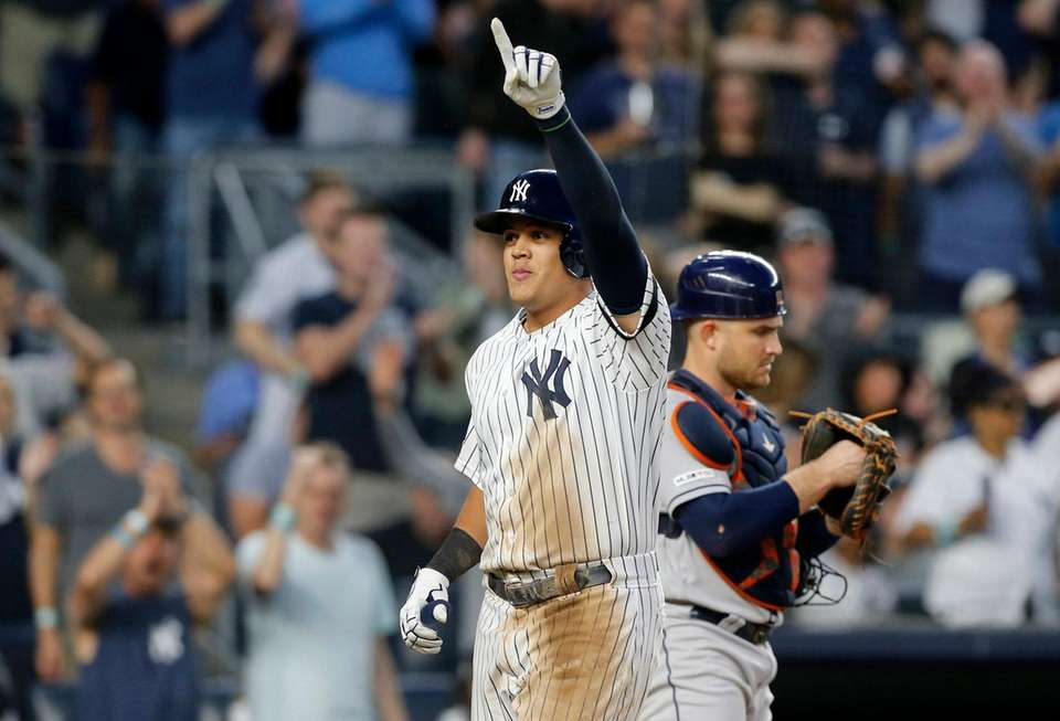 Gio Urshela of the Yankees celebrates his fifth-inning,
