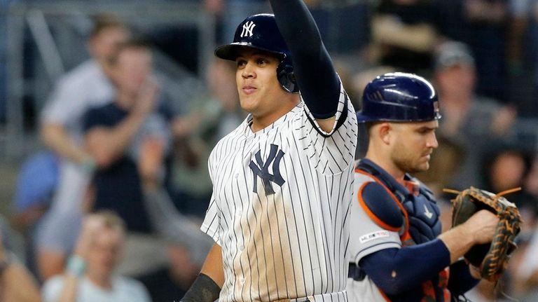 Gio Urshela of the Yankees celebrates his fifth-inning,