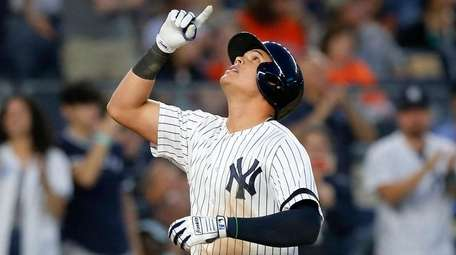Gio Urshela of the Yankees celebrates his fifth-inning