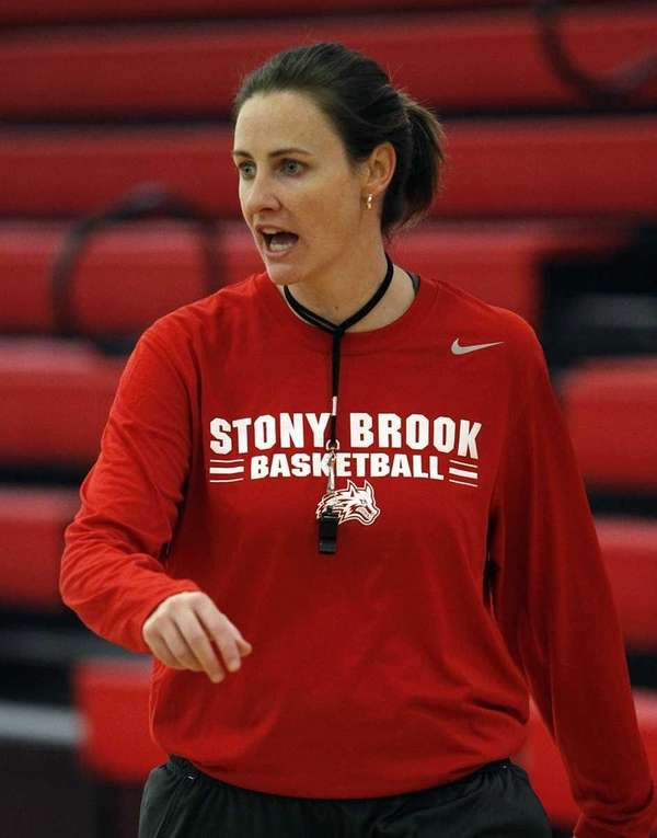 Stony Brook women's basketball head coach Beth O'Boyle