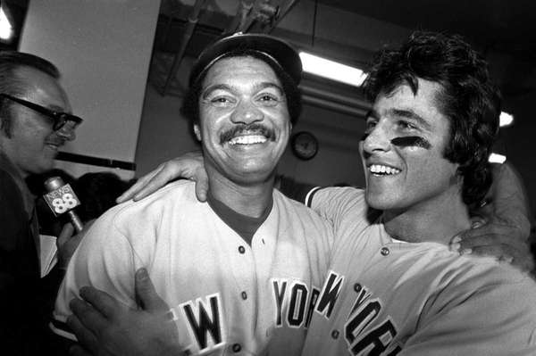 New York Yankees' Reggie Jackson, left, and Bucky