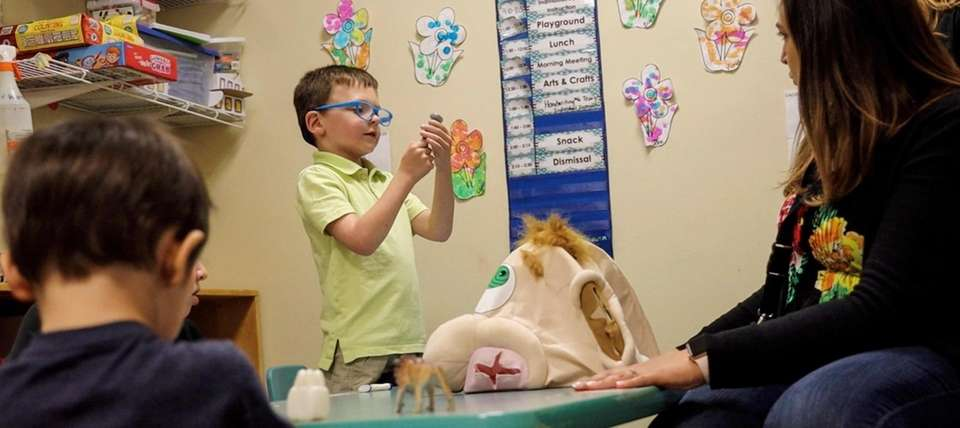 Jack Nordin, 5, participates during class at the