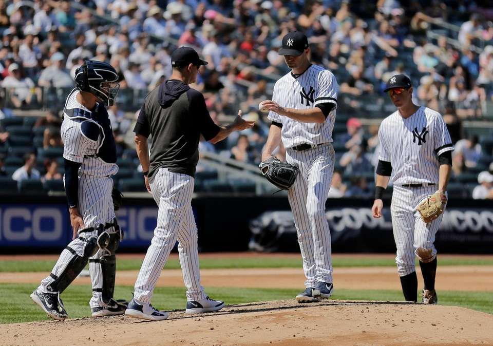 New York Yankees starting pitcher J.A. Happ, second