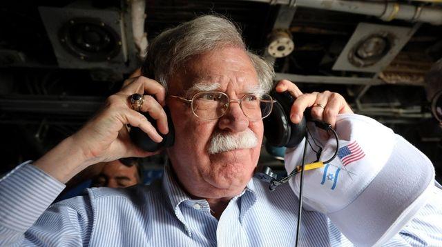 National security adviser John Bolton on a flight