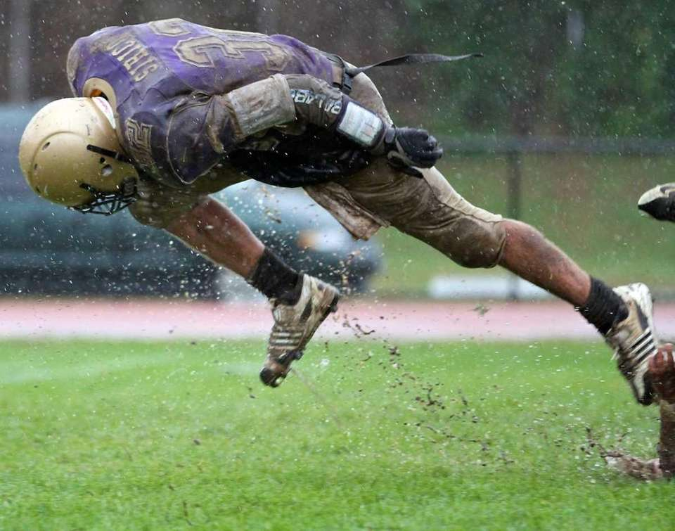 Sayville's quarterback gets tripped up just shy of