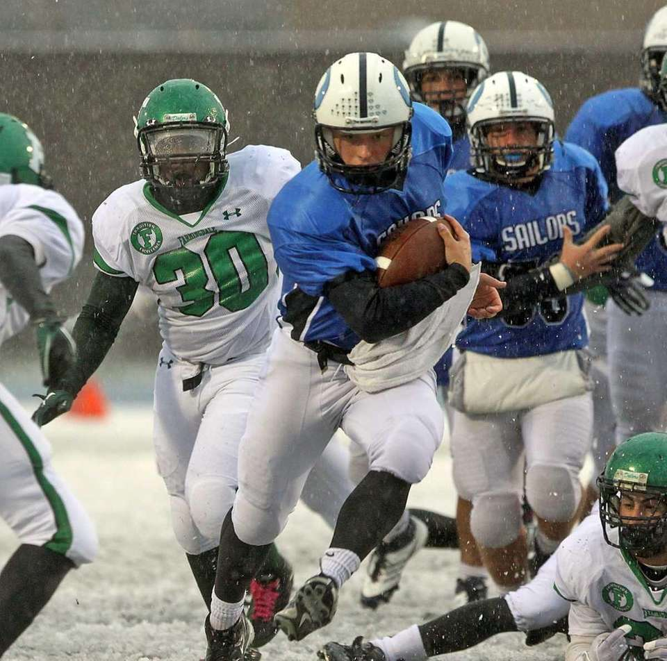 Oceanside's quarterback with a run up the middle.