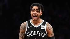 Brooklyn Nets guard D'Angelo Russell reacts during the