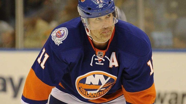 Brian Rolston of the New York Islanders reacts