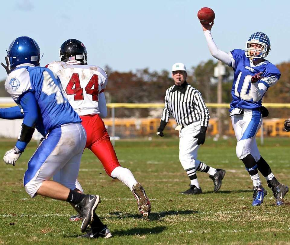 Riverhead's Ryan Bitzer throws the short pass to
