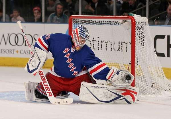 Martin Biron of the New York Rangers makes