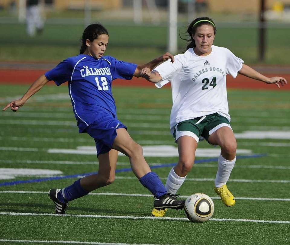 Calhoun midfielder Kayla Cappuzzo controls the ball ahead
