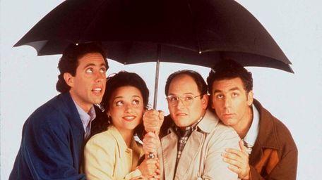 Jerry Seinfeld, left, Julia Louis-Dreyfus, Jason Alexander and