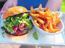 The HB burger (with bacon, white Cheddar and