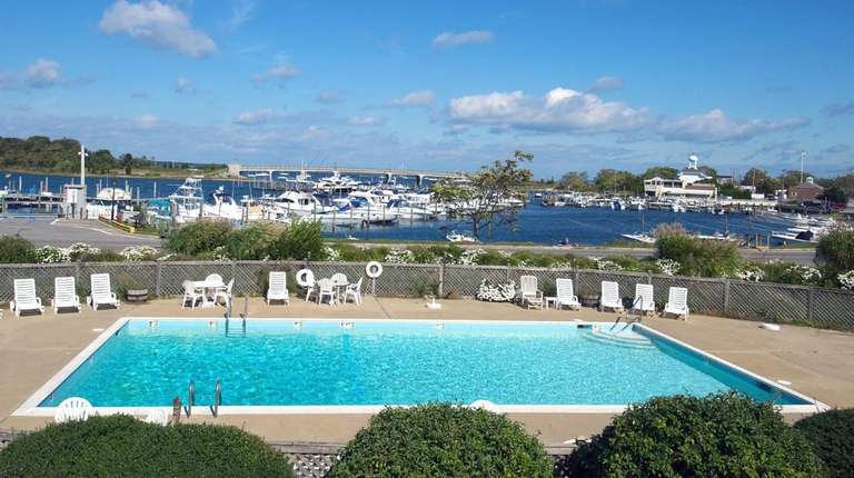 View of the pool and the marina from