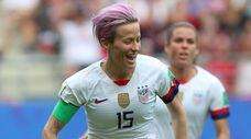 Megan Rapinoe of USA celebrates after scoring during