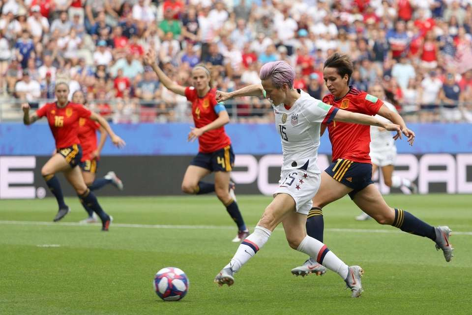 USA's Megan Rapinoe shoots during the 2019 FIFA