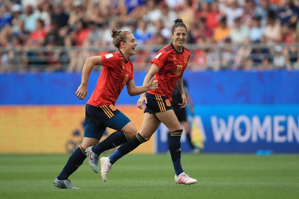 Jennifer Hermoso of Spain celebrates after scoring her